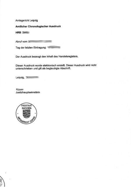 Handelsregisterauszug - Beglaubigte Übersetzung