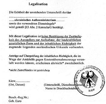 Legalisation beglaubigte Übersetzung